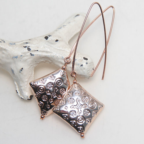 Shiny Copper Patterned Diamonds with Rose Gold Filled Earrings