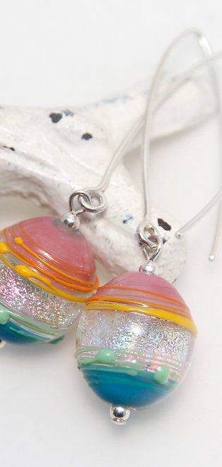 Dichroic Rainbow Splash Sterling Silver and Glass Earrings