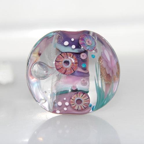 Purple Garden Dichroic Implosion Lampwork Glass Bead