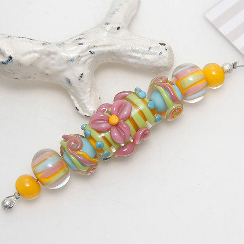 Bright Sunny Colourful Floral Lampwork Glass Bead Set