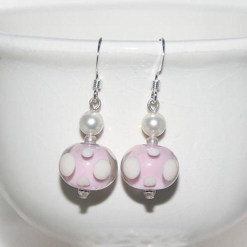 Pearl Pink Polkadot Lampwork Glass Earrings
