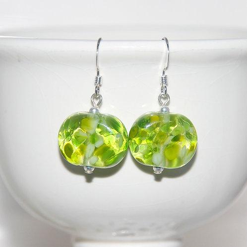 Lime Green Speckle Lampwork Glass Earrings
