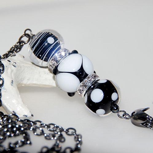 Black and White Bling Lampwork Glass Tassel Necklace