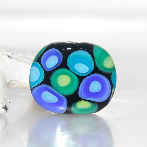 Blue and Green on Black Lampwork Glass Spot Bead