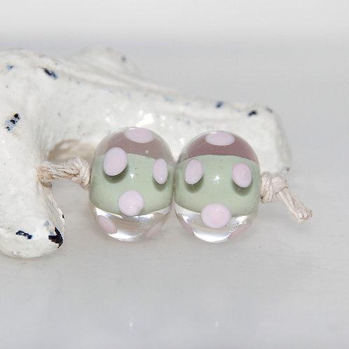 Army Pink Polkadot Lampwork Glass Bead Pair