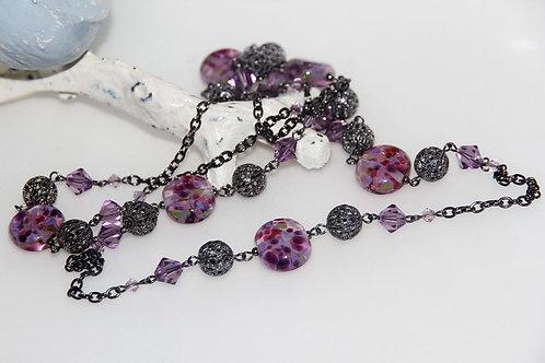 Purple Speckle Glass Bead Necklace