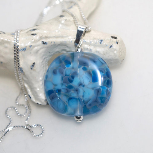 Two Tone Blue Speckle Glass Sterling Silver Necklace