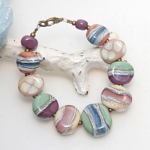 Colourful Organic Lampwork Glass Pebble Bracelet