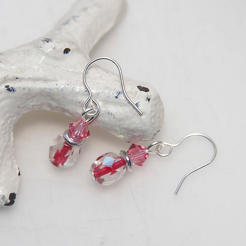 Bright Pink Colour Lined Earrings with Swarovski