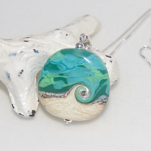 Green and Turquoise Beach Wave Sterling Silver Necklace