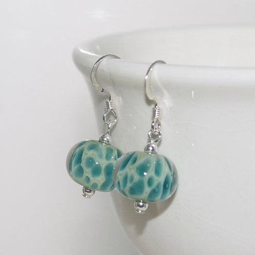 Teal on Sage Speckle Glass Earrings