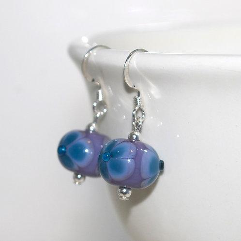 Purple and Blue Flower Glass Earrings