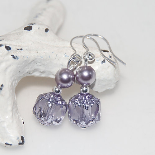 Czech Glass Cathedral Cut with Purple Pearls Earring Pair