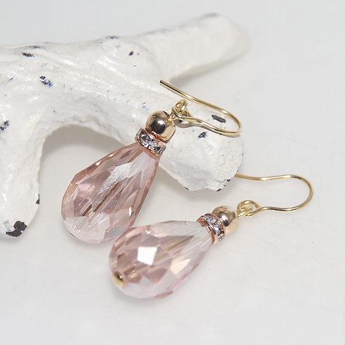 Rose Goldstone Crystal Drop Earrings