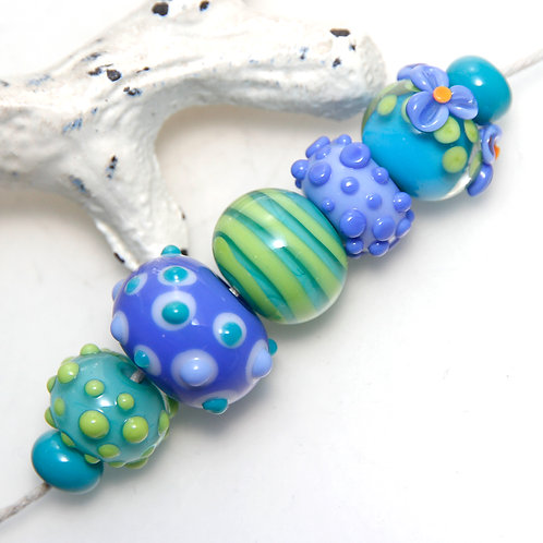 7 Blue and Green Orphan Lampwork Glass Bead Set