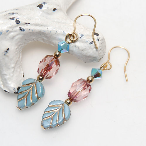 Czech Glass Blue Leaf with Pink Earrings