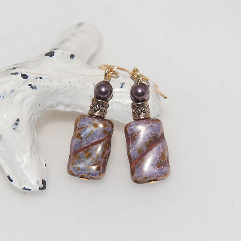 Purple Picasso Czech and Swarovski Gold Earrings