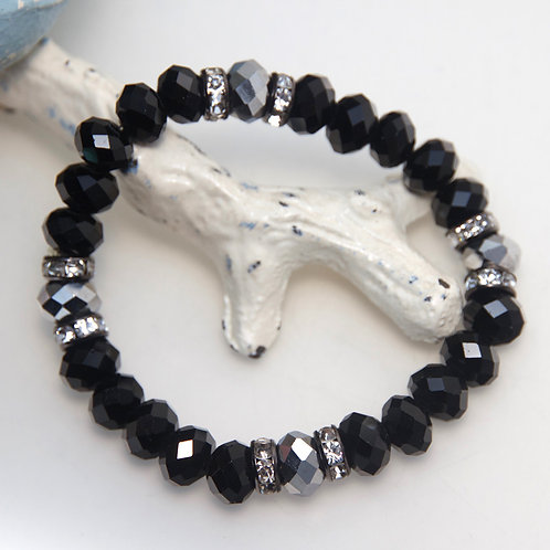 Black and Silver with Sparkly Diamontes Bracelet