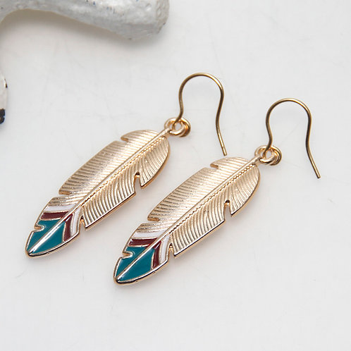 Burgundy and Teal Tipped Golden Leaf Earrings