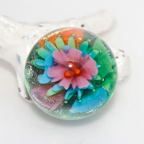 Marble Tropical Flower Implosion Pendant