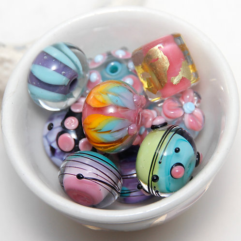 10 Mixed Orphans Pretty Pastel Lampwork Glass Bead Set