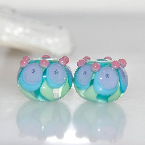 Pastel Bubble Dots on Jungle Vines Lampwork Glass Bead Pair