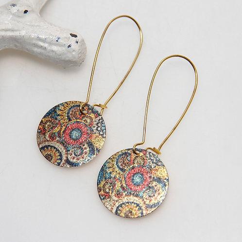 Paisley Circles Shiny Colourful Disc Earrings