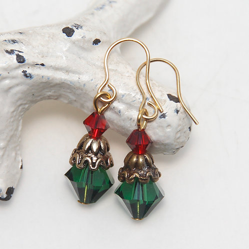 Christmas Capped Tree Swarovski Crystal Earrings