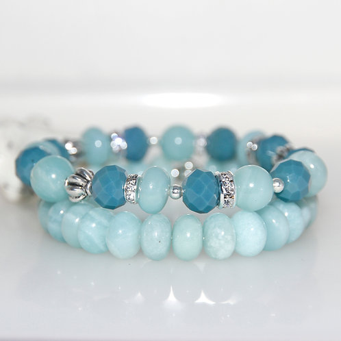 Aventurine Denim Blue and Silver Elastic Bracelet Set of 2