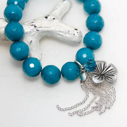 Dark Turquoise Blue Malaysian Jade with Flower Tassel Bracelet