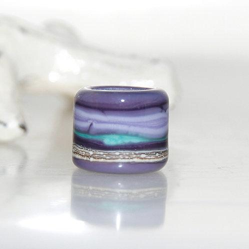 Deep Purple Turquoise Striped Dread Bead 9mm Hole