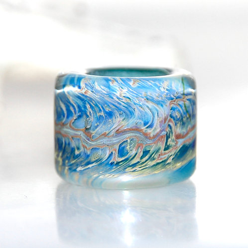 Big Riverglades Blue Glass Dreadlock Bead 10.5mm Hole
