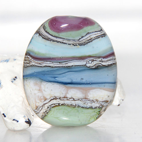 Earthy Striped Organic Lampwork Glass Focal Bead