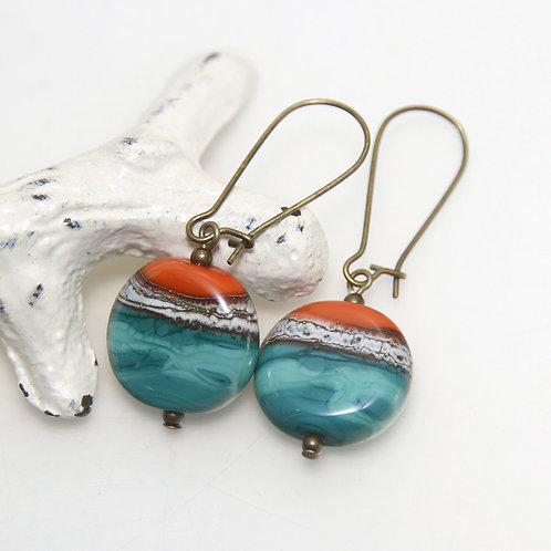 Orange Teal Organic Striped Earrings