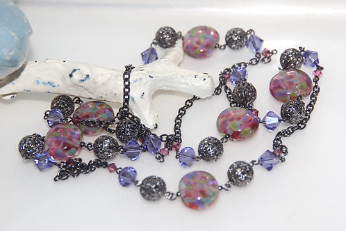 Purple and Rose Pink Speckle Glass Bead Necklace