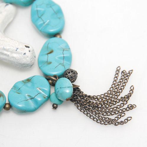 Howlite Turquoise Antique Brass Tassel Bracelet