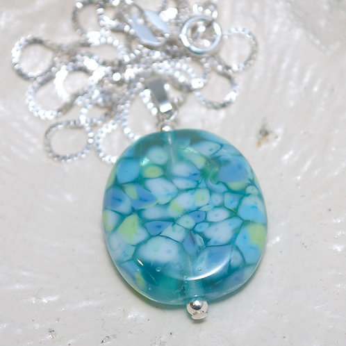 Blue Green and White Mosaic Sterling Silver Necklace