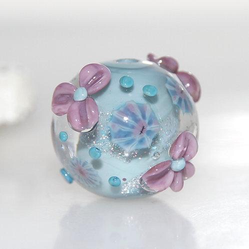 Purple Floral Duck Egg Blue Shimmer Lampwork Glass Bead
