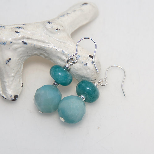 Double Amazonite Faceted Round Earrings