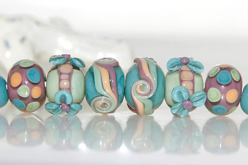 Cottage Garden Lampwork Glass Bead Set