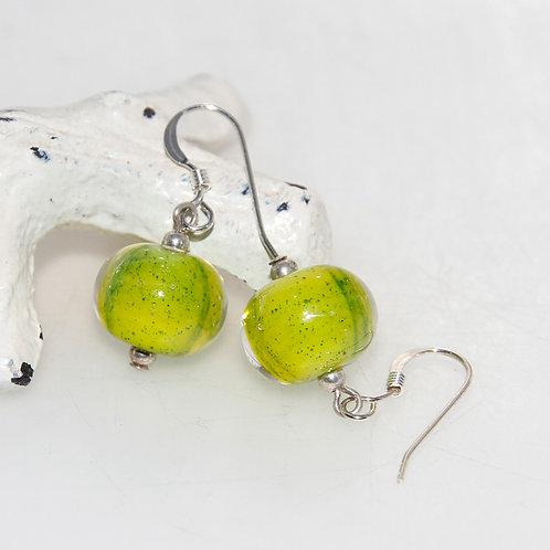 Lime Spark Lampwork Glass Earrings