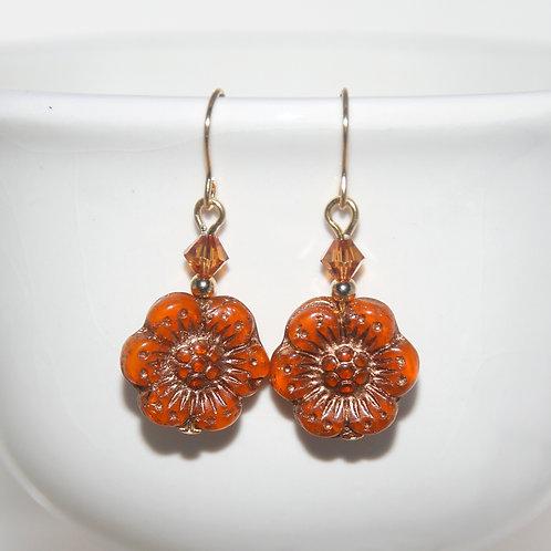 Czech Glass Rusty Orange Wildflower Swarovski Earrings