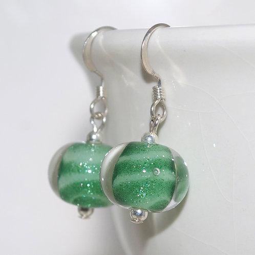 Aventurine Green Striped Glass Earrings
