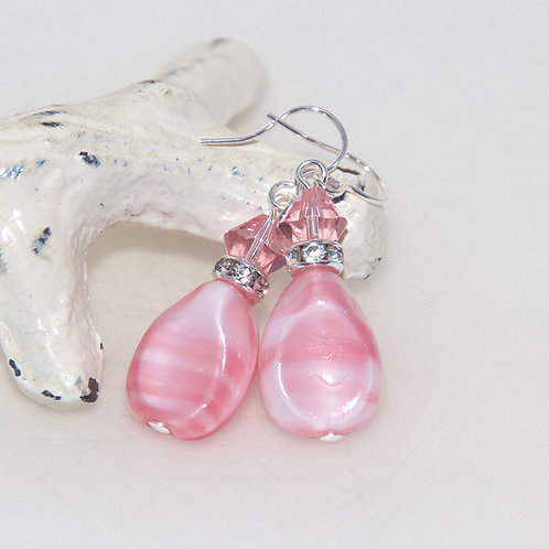 Pink Shampoo and Swarovski Crystal Bling Drop Earrings