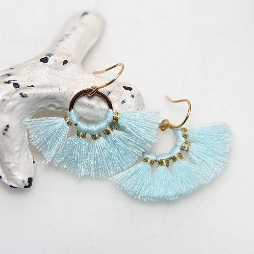 Light Aqua Cotton Fan Earrings