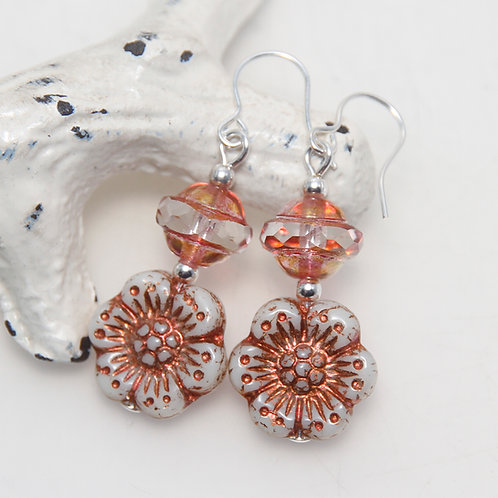 Czech Glass Ivory and Copper Wildflower Earrings