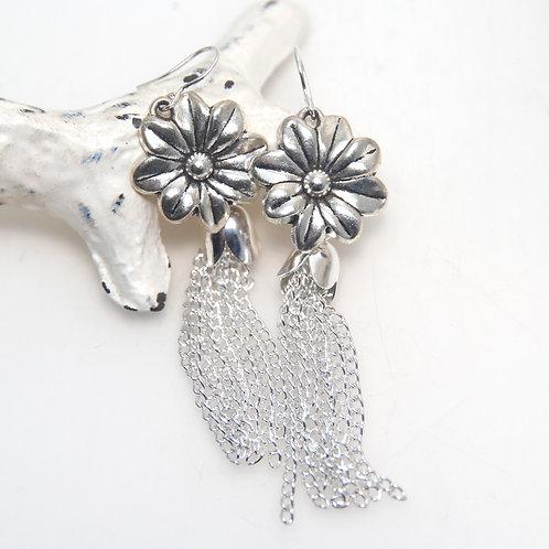 Silver Flower Tassel Earrings
