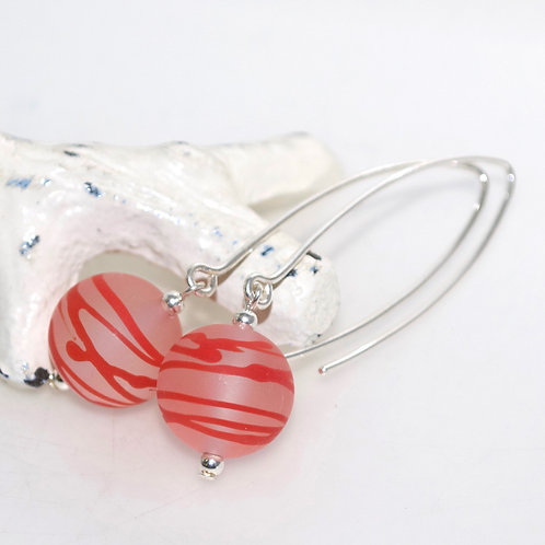Satin Red Striped Earrings