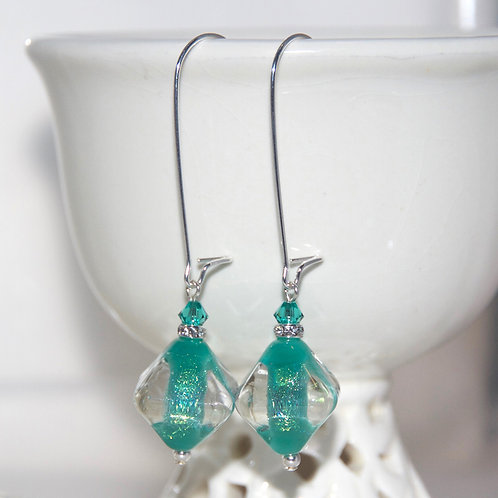 Sparkly Dichroic Teal Glass Earrings