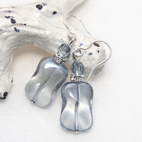 Czech Glass Light Grey Lustre Earrings